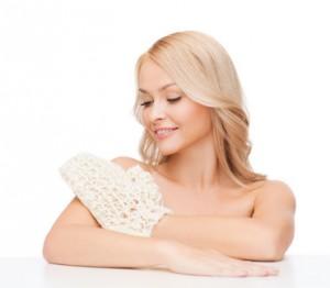 Beauté de la peau, gant exfoliant
